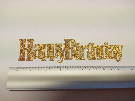 Happy Birthday  Cake Toppers 150mm long Gold Glitter Card,Pack o